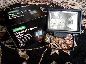 3 x Black 120W Floodlight, Mains Powered, Halogen or LED, IP44