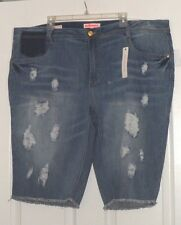 DOLLHOUSE JEAN LOW-RISE BERMUDA SHORTS SIZE 24 STRETCH DISTRESSED NWT