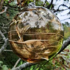 "Hanging Glass Ball 6"" Diameter ""Caramel Swirl Tree"" Witch Ball (1) #113"