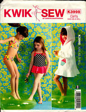 Kwik Sew Sewing Pattern K3998 3998 Girls Cover Up and Swimsuits