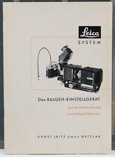 Leica System Das Balgen-Einstellgerät Preisschlüssel zur Liste Photo 1954