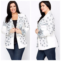 Women's Collar Mix Print Blazer Jacquard Patchwork Plus Size Formal Lined Jacket