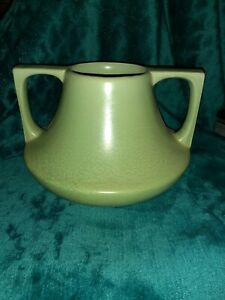VTG Art Deco Haeger Pottery 2 Handle Vase Geranium Green Glaze Teco Style WOW