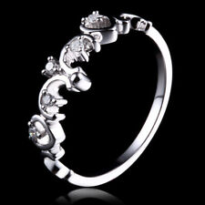 SOLID 10K WHITE GOLD WEDDING ENGAGEMENT DIAMOND WOMEN'S BAND ETERNITY FINE RING