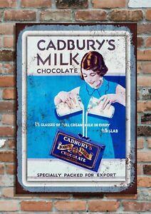 Cadbury's Milchschokolade Süßwaren Retro Vintage Werbung Metall Wand Schild