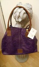 Soft Patterned Italian Purple & Brown Leather Handbag BNWT - luxurious