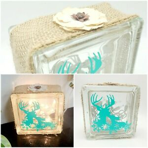 Custom Glass Light  Burlap Teal Deer Lighting