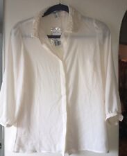 FOREVER 21 Ivory Button Down Blouse. Beautiful Design On Collar. Size- M. NWT