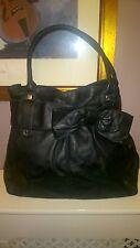 TED BAKER ExL Black 100% Leather Bow SilverTrim Metalic Lining Grab Shoulder Bag