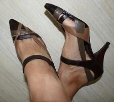 $140 ZOE WITTNER strappy LEATHER PUMPS 8.5 brown tan khaki POINTY heel shoe CHIC