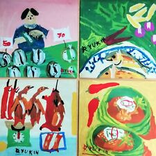 4 per Lot Unique Hanging Wall Room w Sign Acrylic Gift Created by Folk Art Rare