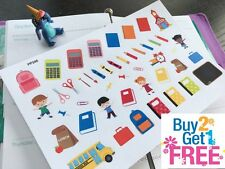 PP346 -- Back To School Icons Planner Stickers for Erin Condren (45pcs)
