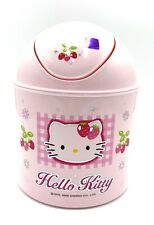 "New Sanrio Hello Kitty Pink Plastic Mini Trash Can Bin 7"" Wastebasket Swing Door"