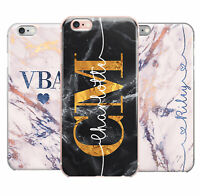 Personalised Name Initials Marble iPhone 5 6 6s 7 8 Plus X Phone Case Cover #67