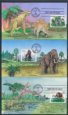 #3077-3080 PRE-HISTORIC ANIMALS FDC (4) HANDPAINTED BY PETERMAN CACHET BT4964