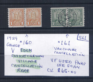 Canada #160 & #161 Coil Pairs Used CV $65 Lot #861