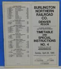 Burlington Northern employee timetable #4 1985 Denver Region BN ETT