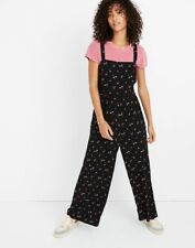 61c1e3ad8938 MADEWELL Black Floral Toss Smocked Crop 90 s Vibe Wide Leg Pants Jumpsuit  10 L