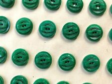 "Vintage Buttons - 24 Green 2-hole 5/8"" Casein Raised & Carved Buttons - France"