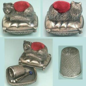 Vintage Figural Pewter Kitty Cat Pin Cushion / Box w/ Unusual Thimble * C1970s