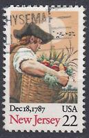 USA Briefmarke gestempelt 22c New Jersey Dec 18 1787  / 546