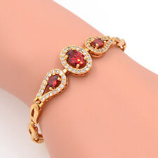 Romantic Women Gold Plated AAA+ Cubic Zirconia CZ Red Round Charm Bracelet Gift