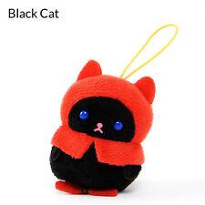 Amuse Puchimaru Mini Plush Black Cat w/ Rain Coat Kawaii From Japan
