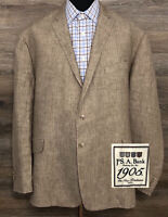 JOS A BANK 1905 Men's 100% Linen Brown Two-Button Blazer Sport Coat Jacket 48R