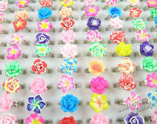 Wholesale 24pcs Polymer Clay Flower Finger Rings For Kids Adjustable