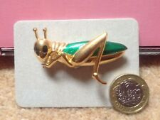 18 Carat Gold Plated Cabouchon Green Enamel Grasshopper Brooch