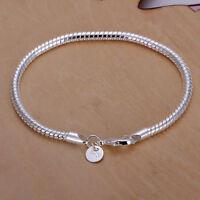 Chic Wholesale 925 Silver Bracelet 3mm Snake Chain Men Women Fashion Jewelry