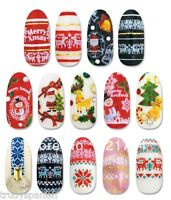 Christmas Nail Art Stickers Water Decals Transfers Snowflakes Reindeers Bows