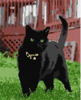 Black Cat Needlepoint Kit or Canvas (Animal)