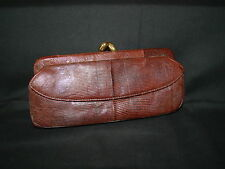 Ladies Brown Lizard Reptile Clutch Pocketbook Purse Vtg Boudoir Display Decor