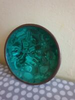 Vintage Trinket Dish With Shades Of Green And Gold Decoration