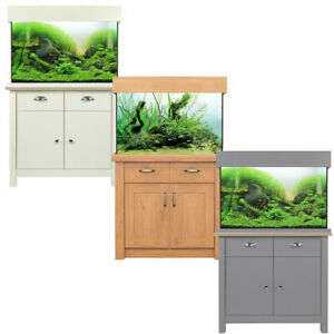Aquaone Oak Style Shades Aquarium Fish Tank & Cabinet Filter & LED Lighting 145L
