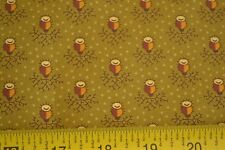 By 1/2 Yd, Tan Brown on Olive Quilting, Andover/Elizabethtown/Mor ton/5322, M8649