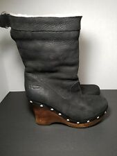 UGG Australia CARNAGIE boots size 6 M 1001317 W/Black Wedge High Heel Studded