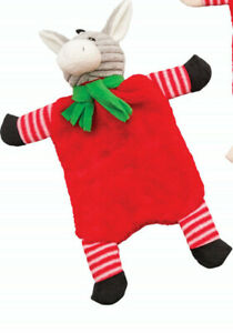 """Spot Holiday Crinkle Flat Donkey With Squeaker Dog Toy 11"""" Christmas Ethical Pet"""