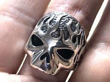 Solid 925 Sterling Silver Mens Heavy Fire Burning Skull Ring