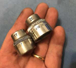 "HAZET  880  17mm & 20mm   3/8""  Drive   6 Pt Sockets , Germany  VG"
