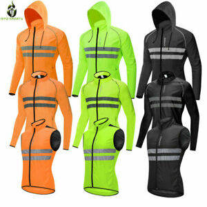 Men's Waterproof Windbreaker Cycling Jacket Hoodie Light Sports Outwear Hi Vis