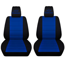 Fits 2010 to 2015 Chevrolet Camaro Black and Dark Blue Seat Covers ABF