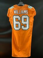 #69 JORDAN WILLIAMS MIAMI DOLPHINS USED TEAM ISSUED ORANGE COLOR RUSH JERSEY