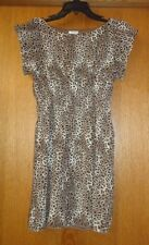 Woman's sz 5/6 - Brown Leopard Print DRESS - Pinky - Boat neck, puff sleeve CUTE