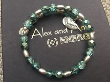 NEW ALEX and ANI QVC VINTAGE 66 HEALING DREAM TEAL Silver Beaded Wrap BRACELET💎