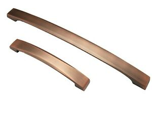 CURVED BRUSHED COPPER KITCHEN CABINET DOOR STRAP D HANDLE CUPBOARD DRAWER PULL