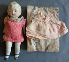 "Antique Bisque Jointed 7.25"" Nippon Doll Molded Shoes Socks Handmade Clothes"