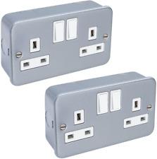 2 x 13 Amp Metal Clad Socket 2 Gang Switched Socket Outlet