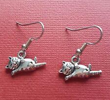 Cat Earrings cute drop dangle earrings animal jewellery dog kitten silver plated